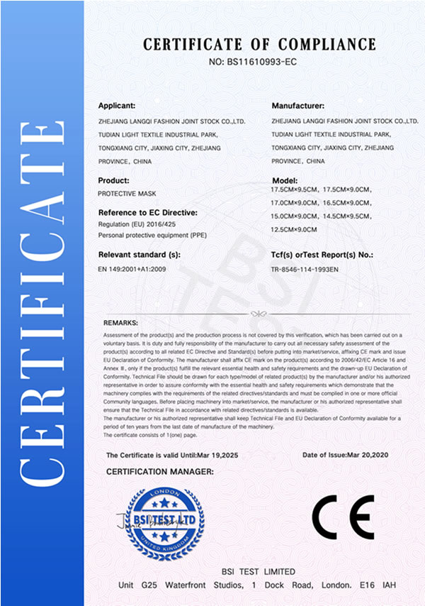 Disposable Face Mask CE Certificate